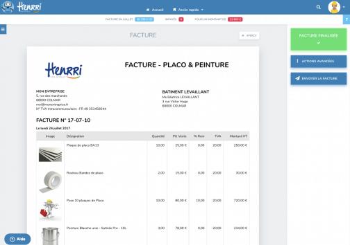 Capture d'écran de la fonctionnalité facture avec le menu affiché