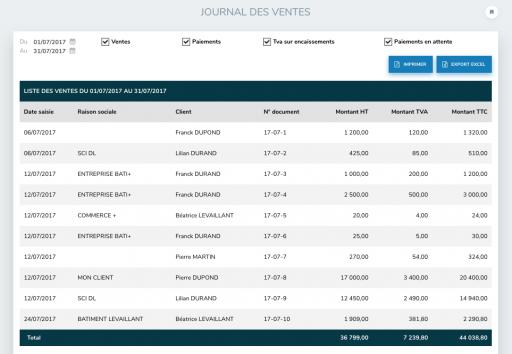 Capture d'écran de la fonctionnalité journal des ventes